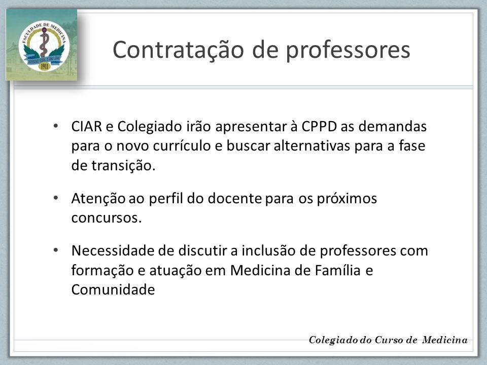 Contratação de professores CIAR e Colegiado irão apresentar à CPPD as demandas para o novo currículo e buscar alternativas para a fase de transição. A