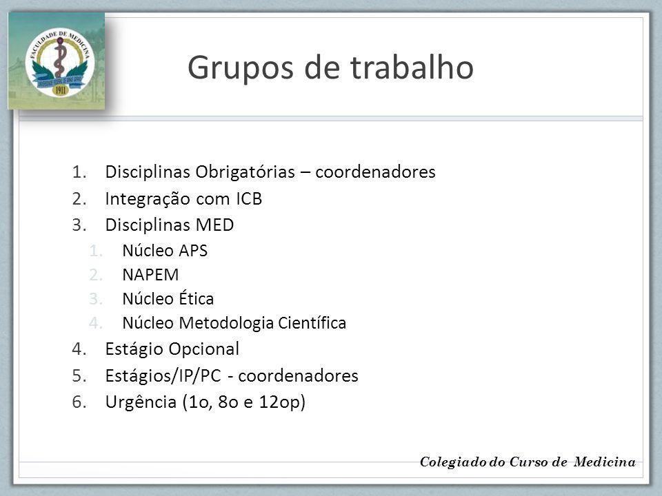 Grupos de trabalho 1.Disciplinas Obrigatórias – coordenadores 2.Integração com ICB 3.Disciplinas MED 1.Núcleo APS 2.NAPEM 3.Núcleo Ética 4.Núcleo Meto