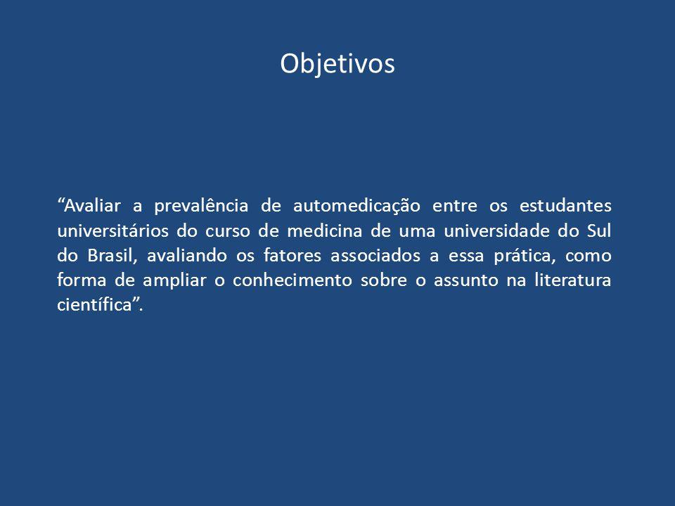 Objetivos Avaliar a prevalência de automedicação entre os estudantes universitários do curso de medicina de uma universidade do Sul do Brasil, avaliando os fatores associados a essa prática, como forma de ampliar o conhecimento sobre o assunto na literatura científica .