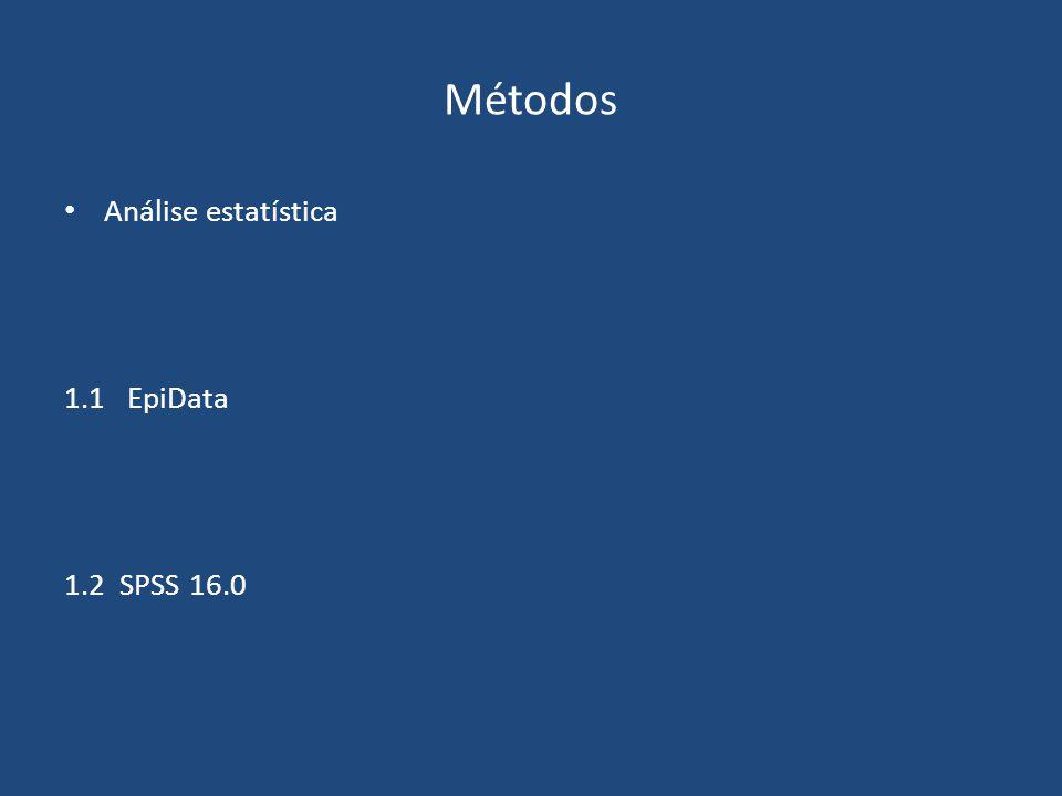Análise estatística 1.1 EpiData 1.2 SPSS 16.0 Métodos
