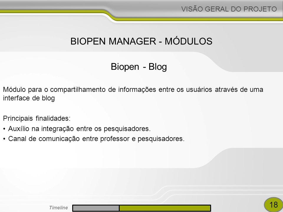 VISÃO GERAL DO PROJETO Módulo para o compartilhamento de informações entre os usuários através de uma interface de blog Principais finalidades: Auxílio na integração entre os pesquisadores.