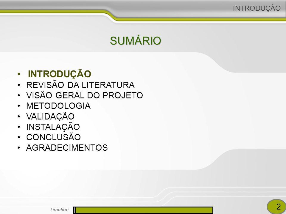 SUMÁRIO INTRODUÇÃO REVISÃO DA LITERATURA VISÃO GERAL DO PROJETO METODOLOGIA VALIDAÇÃO INSTALAÇÃO CONCLUSÃO AGRADECIMENTOS 2 Timeline