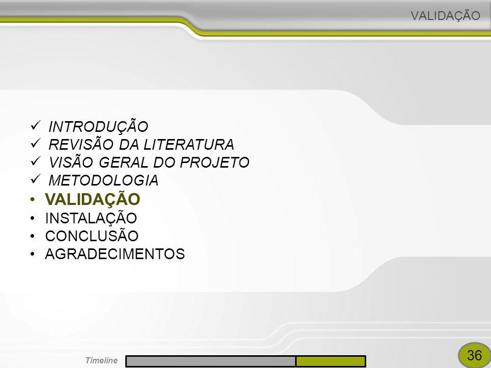 VALIDAÇÃO INTRODUÇÃO REVISÃO DA LITERATURA VISÃO GERAL DO PROJETO METODOLOGIA VALIDAÇÃO INSTALAÇÃO CONCLUSÃO AGRADECIMENTOS 36 Timeline