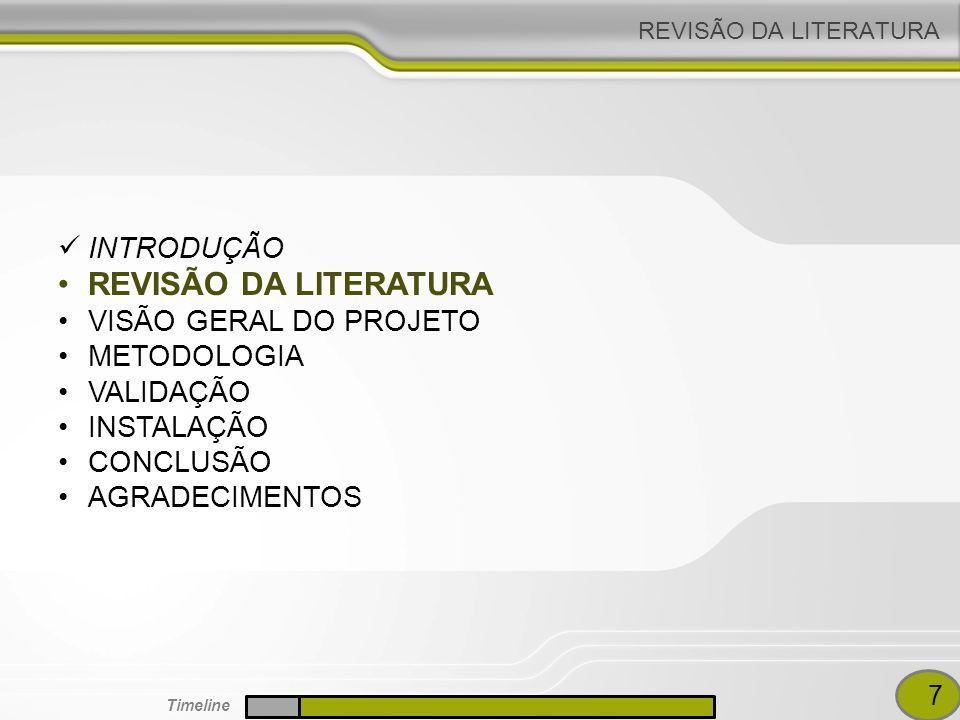 REVISÃO DA LITERATURA INTRODUÇÃO REVISÃO DA LITERATURA VISÃO GERAL DO PROJETO METODOLOGIA VALIDAÇÃO INSTALAÇÃO CONCLUSÃO AGRADECIMENTOS 7 Timeline