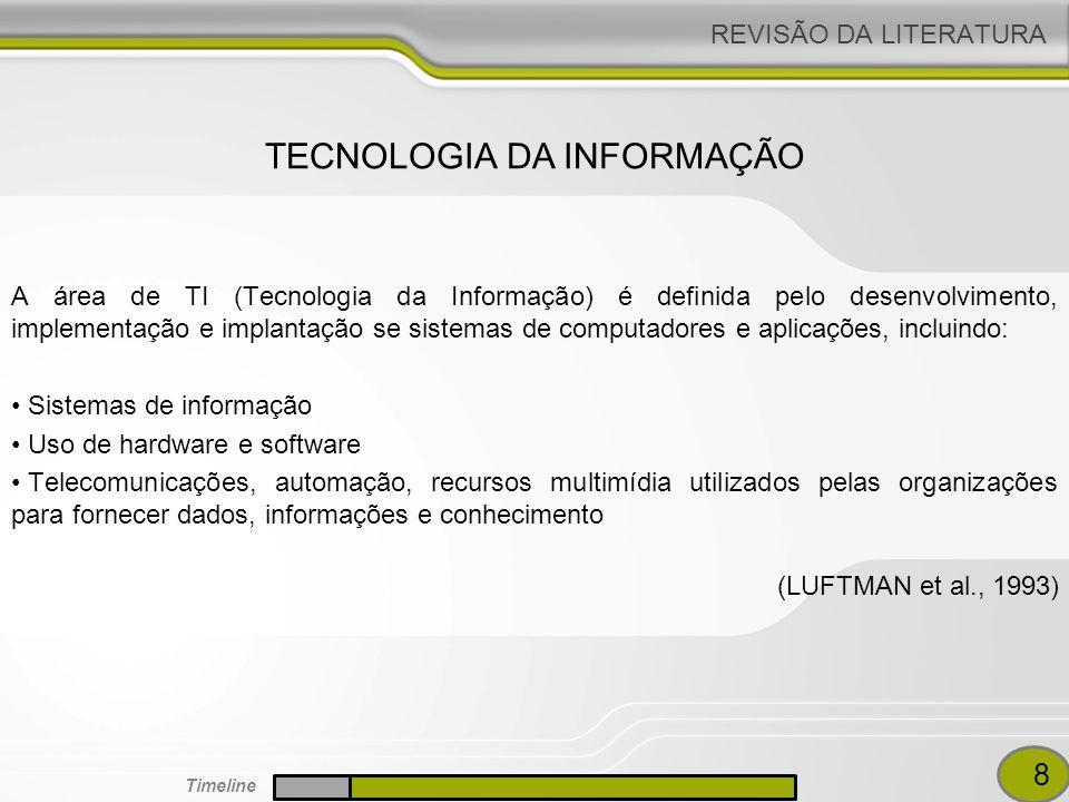 REVISÃO DA LITERATURA A área de TI (Tecnologia da Informação) é definida pelo desenvolvimento, implementação e implantação se sistemas de computadores e aplicações, incluindo: Sistemas de informação Uso de hardware e software Telecomunicações, automação, recursos multimídia utilizados pelas organizações para fornecer dados, informações e conhecimento (LUFTMAN et al., 1993) TECNOLOGIA DA INFORMAÇÃO 8 Timeline