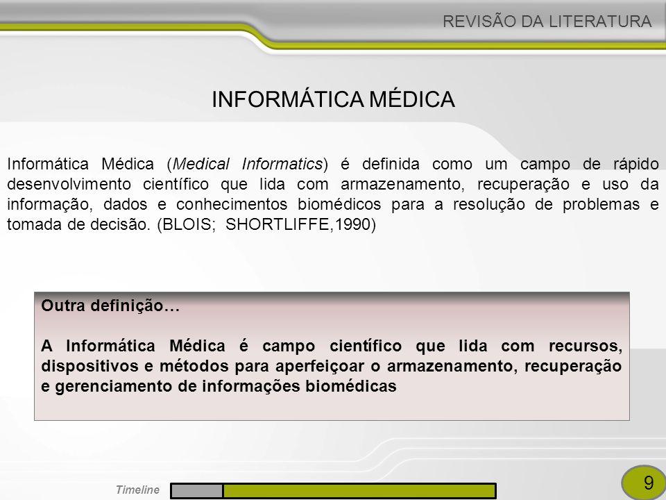REVISÃO DA LITERATURA O crescimento da Informática Médica como uma disciplina deve-se aos avanços nas tecnologias de computação e informação (DEGOULET,1997) O conhecimento médico e as informações sobre os pacientes não são gerenciáveis pelos métodos tradicionais baseados em papel (FIESCHI, 1997) AVANÇOS DE TI NA ÁREA DA SAÚDE 10 Timeline