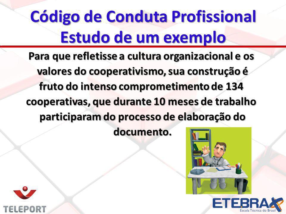 Código de Conduta Profissional Estudo de um exemplo Para que refletisse a cultura organizacional e os valores do cooperativismo, sua construção é valo