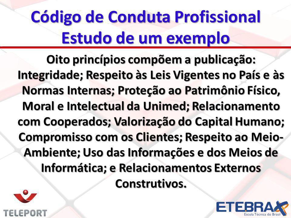 Código de Conduta Profissional Estudo de um exemplo Oito princípios compõem a publicação: Integridade; Respeito às Leis Vigentes no País e às Normas I