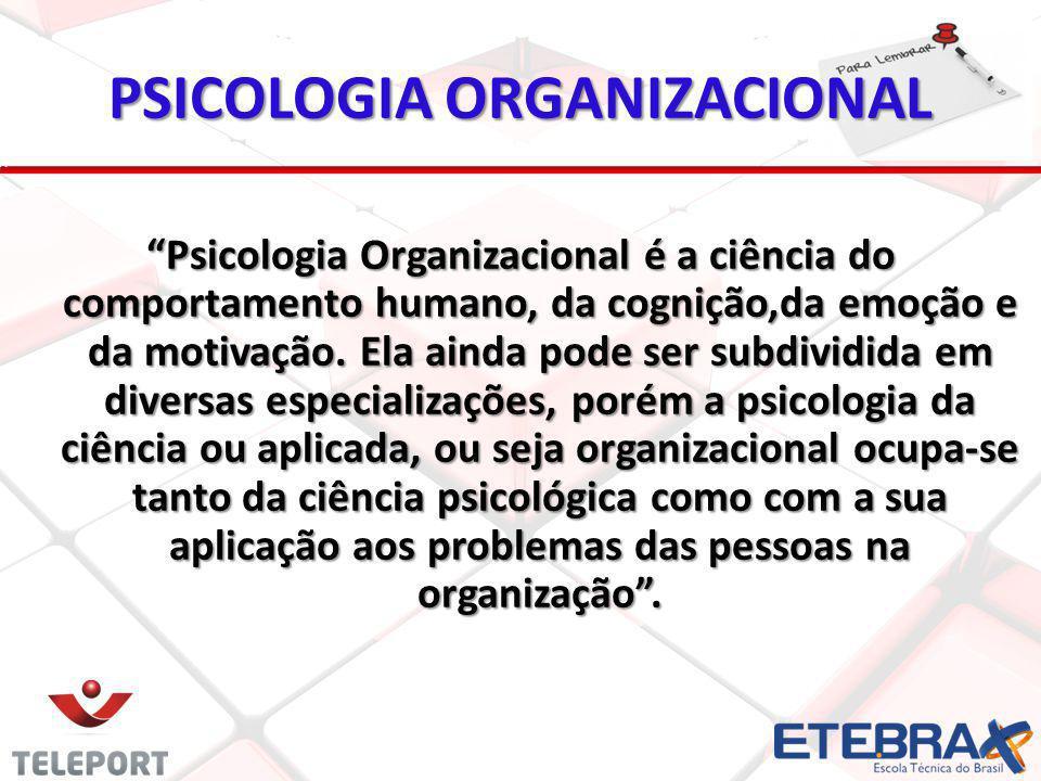 """PSICOLOGIA ORGANIZACIONAL """"Psicologia Organizacional é a ciência do comportamento humano, da cognição,da emoção e da motivação. Ela ainda pode ser sub"""