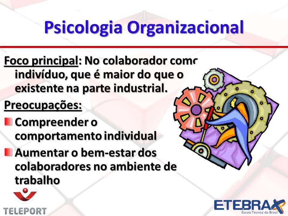 Psicologia Organizacional Foco principal: No colaborador como indivíduo, que é maior do que o existente na parte industrial. Preocupações: Compreender