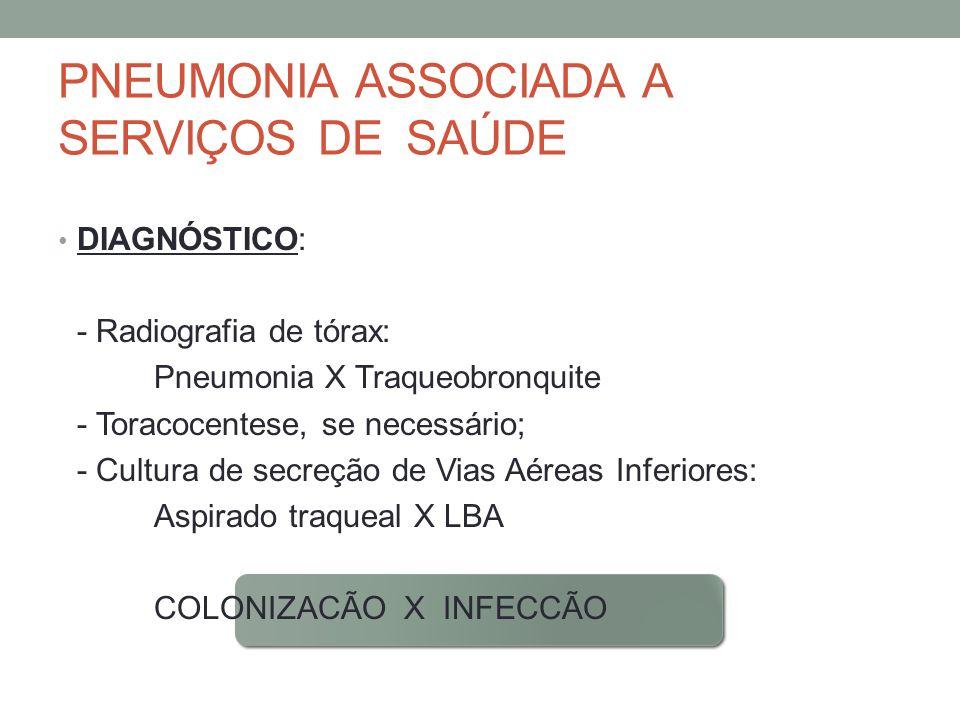 PNEUMONIA ASSOCIADA A SERVIÇOS DE SAÚDE DIAGNÓSTICO: - Radiografia de tórax: Pneumonia X Traqueobronquite - Toracocentese, se necessário; - Cultura de secreção de Vias Aéreas Inferiores: Aspirado traqueal X LBA COLONIZACÃO X INFECCÃO