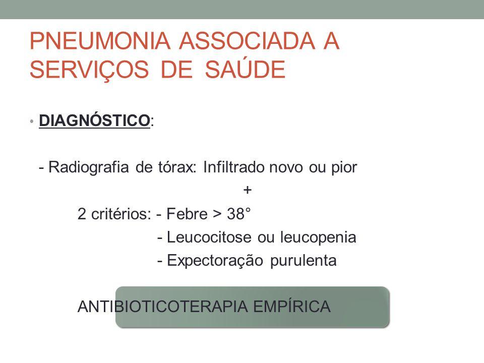 PNEUMONIA ASSOCIADA A SERVIÇOS DE SAÚDE DIAGNÓSTICO: - Radiografia de tórax: Infiltrado novo ou pior + 2 critérios: - Febre > 38° - Leucocitose ou leucopenia - Expectoração purulenta ANTIBIOTICOTERAPIA EMPÍRICA