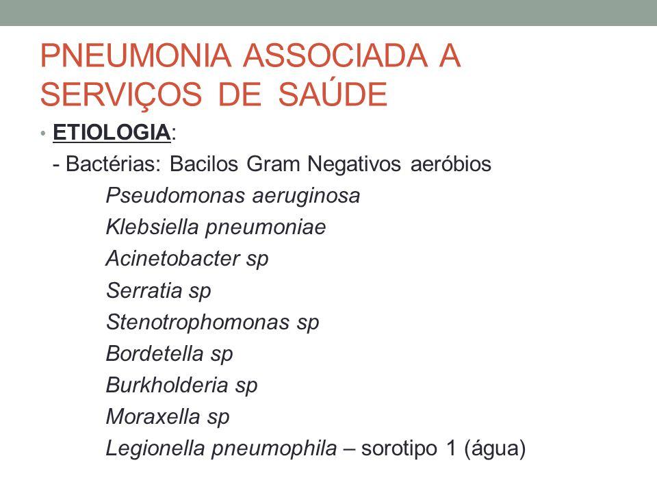 PNEUMONIA ASSOCIADA A SERVIÇOS DE SAÚDE ETIOLOGIA: - Bactérias Anaeróbias - incomuns - Cocos Gram positivos: S.