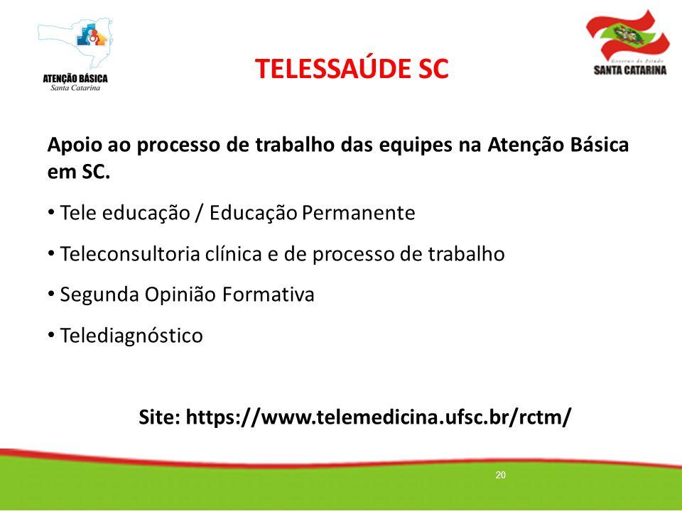 20 Objetivo: Apoio ao processo de trabalho das equipes na Atenção Básica em SC. Tele educação / Educação Permanente Teleconsultoria clínica e de proce