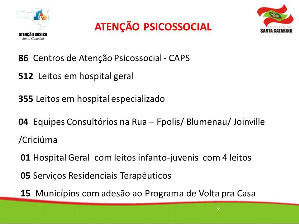 6 86 Centros de Atenção Psicossocial - CAPS 512 Leitos em hospital geral 355 Leitos em hospital especializado 04 Equipes Consultórios na Rua – Fpolis/
