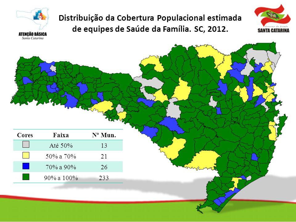 Cobertura Populacional Estimada pela Saúde da Família Distribuição da Cobertura Populacional estimada de equipes de Saúde da Família. SC, 2012. CoresF