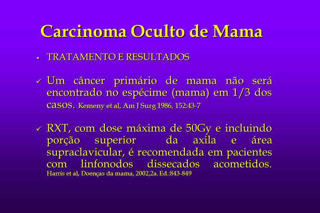 Carcinoma Oculto de Mama TRATAMENTO E RESULTADOS TRATAMENTO E RESULTADOS Um câncer primário de mama não será encontrado no espécime (mama) em 1/3 dos