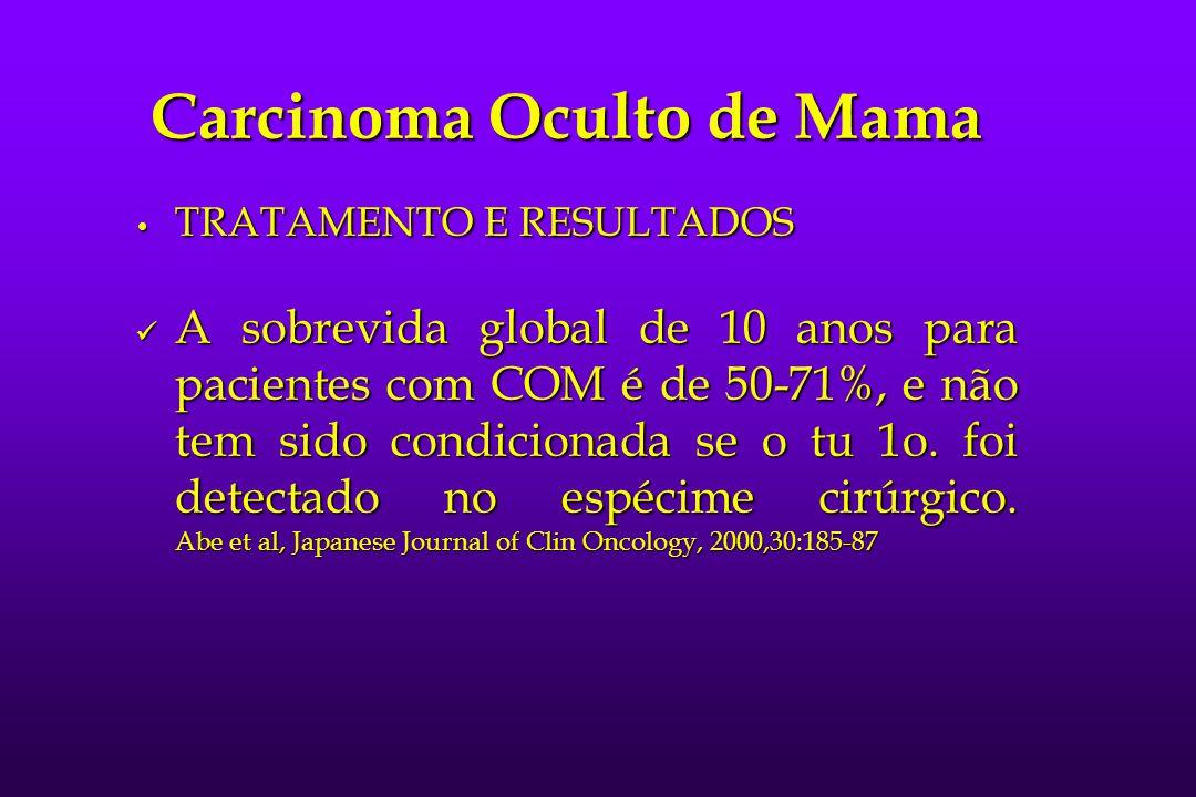 Carcinoma Oculto de Mama TRATAMENTO E RESULTADOS TRATAMENTO E RESULTADOS A sobrevida global de 10 anos para pacientes com COM é de 50-71%, e não tem s