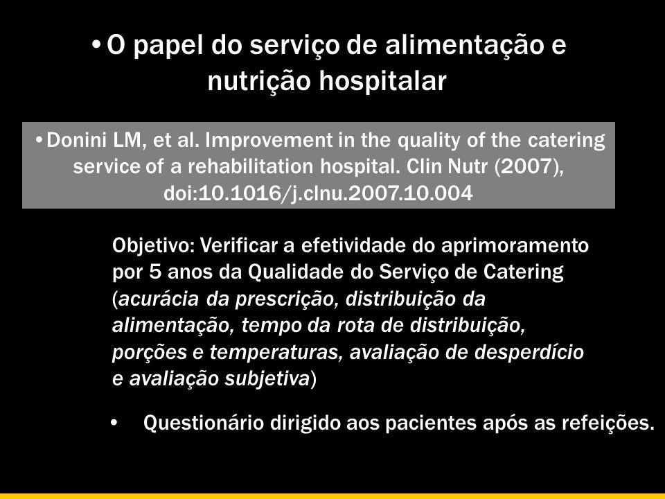 O papel do serviço de alimentação e nutrição hospitalar Donini LM, et al. Improvement in the quality of the catering service of a rehabilitation hospi