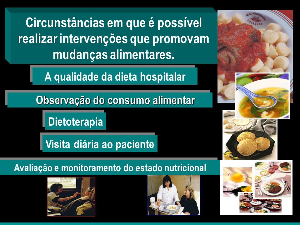 A qualidade da dieta hospitalar Circunstâncias em que é possível realizar intervenções que promovam mudanças alimentares. Observação do consumo alimen