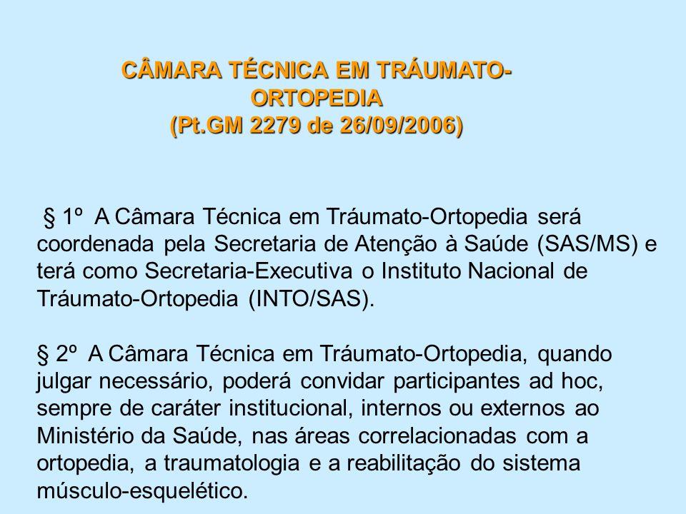 § 1º A Câmara Técnica em Tráumato-Ortopedia será coordenada pela Secretaria de Atenção à Saúde (SAS/MS) e terá como Secretaria-Executiva o Instituto N