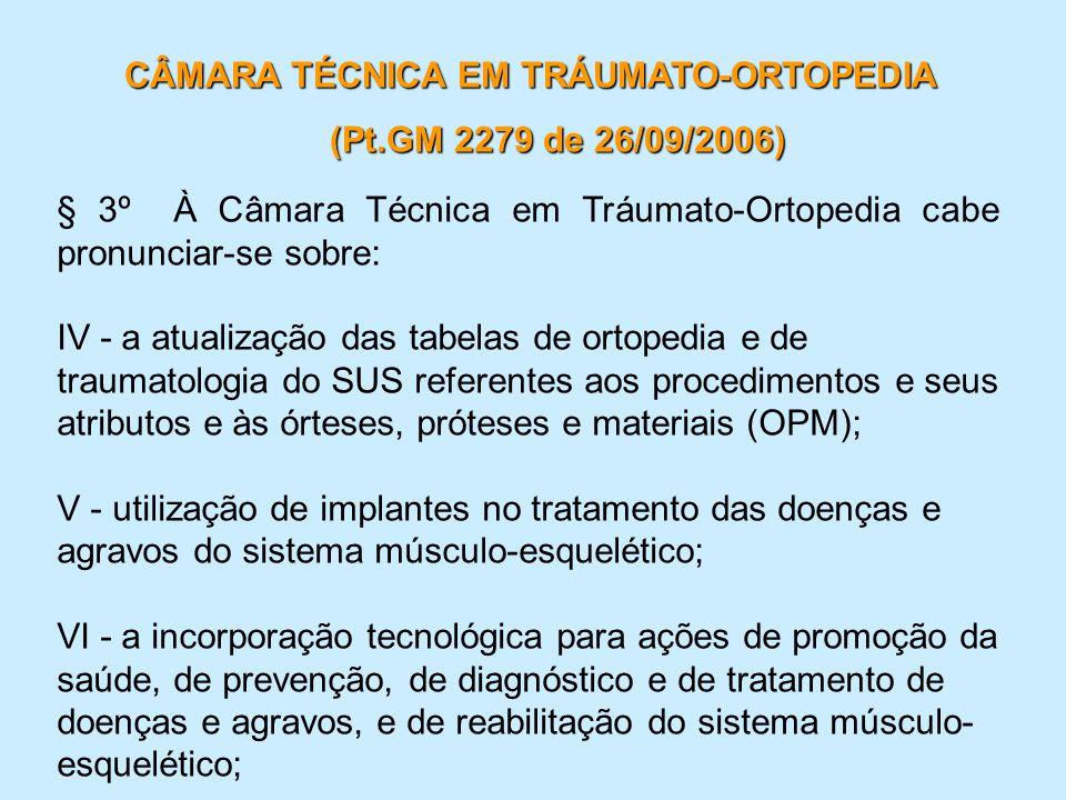 § 3º À Câmara Técnica em Tráumato-Ortopedia cabe pronunciar-se sobre: IV - a atualização das tabelas de ortopedia e de traumatologia do SUS referentes