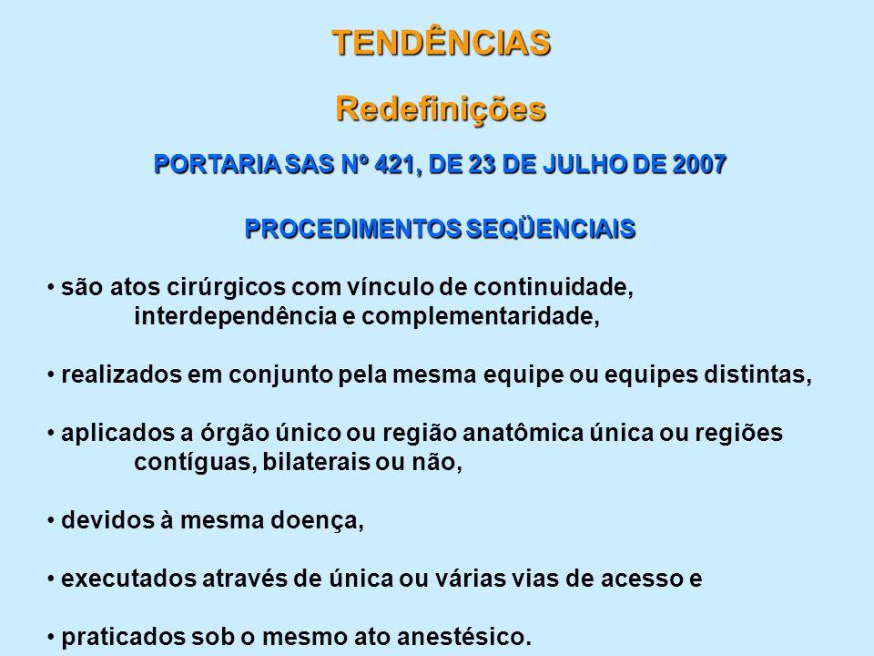 TENDÊNCIAS Redefinições PORTARIA SAS Nº 421, DE 23 DE JULHO DE 2007 PROCEDIMENTOS SEQÜENCIAIS são atos cirúrgicos com vínculo de continuidade, interde