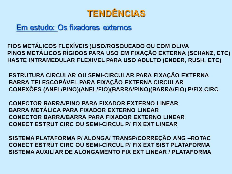 TENDÊNCIAS Em estudo: Os fixadores externos FIOS METÁLICOS FLEXÍVEIS (LISO/ROSQUEADO OU COM OLIVA PINOS METÁLICOS RÍGIDOS PARA USO EM FIXAÇÃO EXTERNA