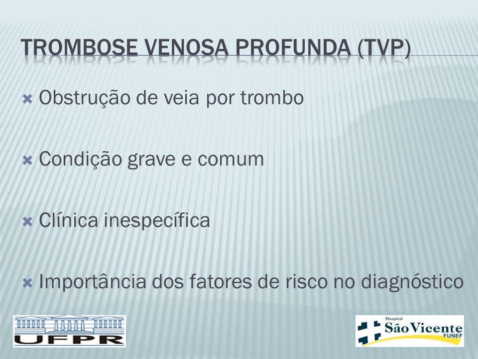  Obstrução de veia por trombo  Condição grave e comum  Clínica inespecífica  Importância dos fatores de risco no diagnóstico