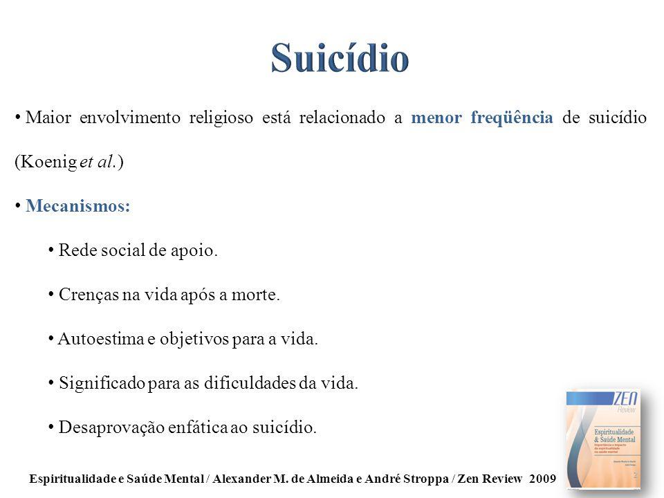 Maior envolvimento religioso está relacionado a menor freqüência de suicídio (Koenig et al.) Mecanismos: Rede social de apoio. Crenças na vida após a