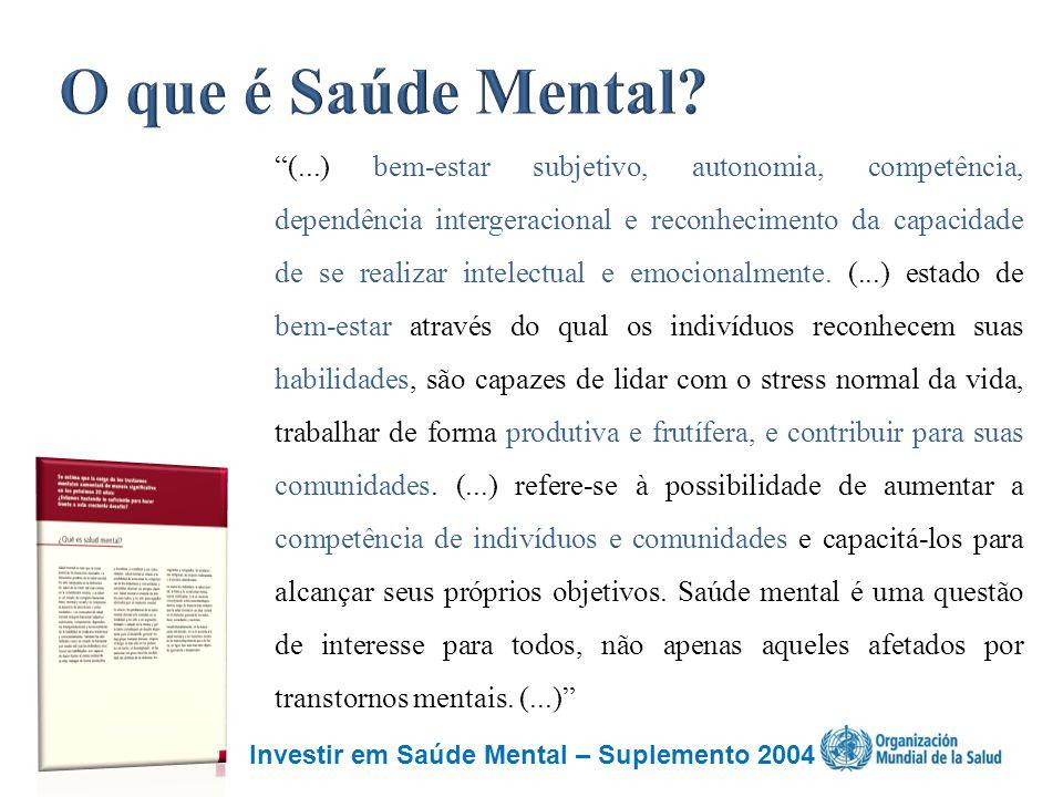 """Investir em Saúde Mental – Suplemento 2004 """"(...) bem-estar subjetivo, autonomia, competência, dependência intergeracional e reconhecimento da capacid"""