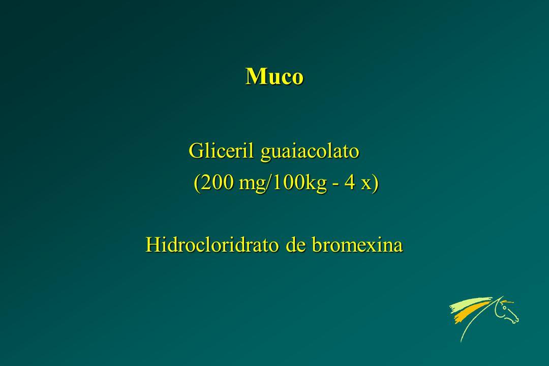 Muco Gliceril guaiacolato (200 mg/100kg - 4 x) Hidrocloridrato de bromexina