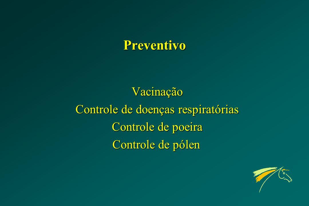 Preventivo Vacinação Controle de doenças respiratórias Controle de poeira Controle de pólen