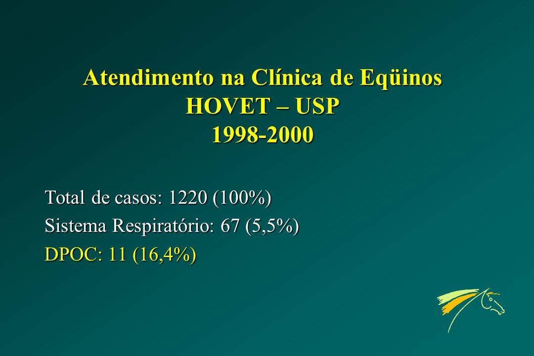 Atendimento na Clínica de Eqüinos HOVET – USP 1998-2000 Total de casos: 1220 (100%) Sistema Respiratório: 67 (5,5%) DPOC: 11 (16,4%)