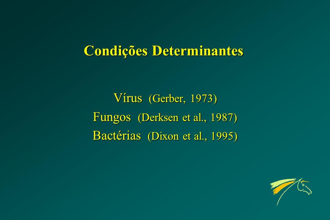 Condições Determinantes Vírus (Gerber, 1973) Fungos (Derksen et al., 1987) Bactérias (Dixon et al., 1995)