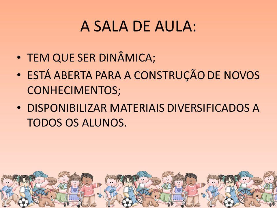 A SALA DE AULA: TEM QUE SER DINÂMICA; ESTÁ ABERTA PARA A CONSTRUÇÃO DE NOVOS CONHECIMENTOS; DISPONIBILIZAR MATERIAIS DIVERSIFICADOS A TODOS OS ALUNOS.