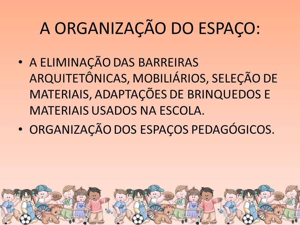 A ORGANIZAÇÃO DO ESPAÇO: A ELIMINAÇÃO DAS BARREIRAS ARQUITETÔNICAS, MOBILIÁRIOS, SELEÇÃO DE MATERIAIS, ADAPTAÇÕES DE BRINQUEDOS E MATERIAIS USADOS NA