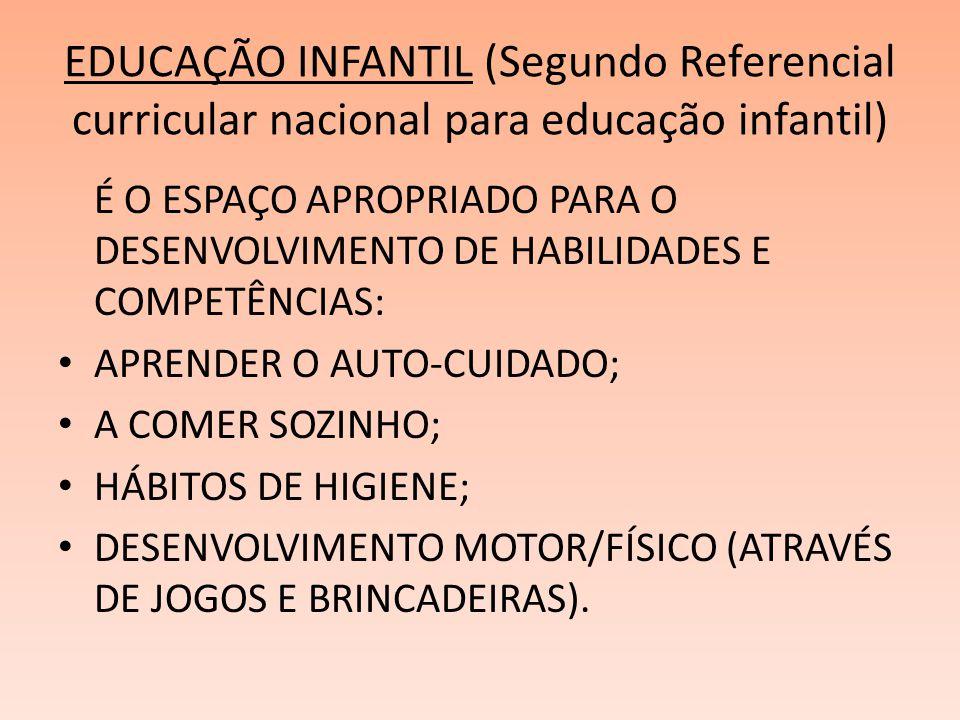 EDUCAÇÃO INFANTIL (Segundo Referencial curricular nacional para educação infantil) É O ESPAÇO APROPRIADO PARA O DESENVOLVIMENTO DE HABILIDADES E COMPE