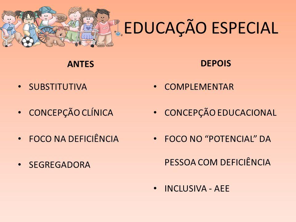 """EDUCAÇÃO ESPECIAL ANTES SUBSTITUTIVA CONCEPÇÃO CLÍNICA FOCO NA DEFICIÊNCIA SEGREGADORA DEPOIS COMPLEMENTAR CONCEPÇÃO EDUCACIONAL FOCO NO """"POTENCIAL"""" D"""