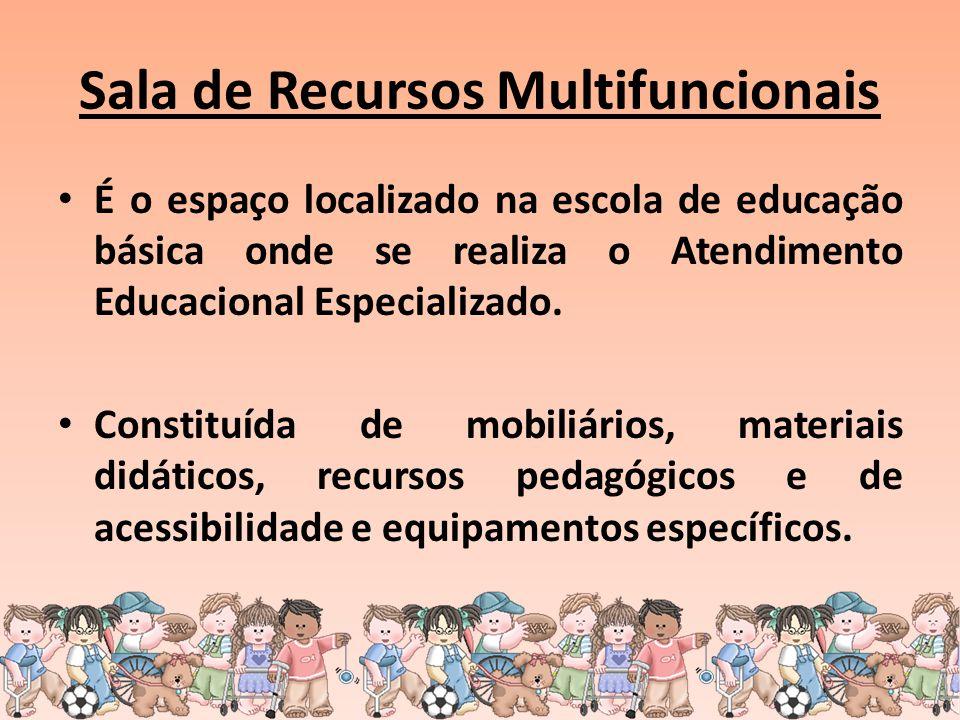 Sala de Recursos Multifuncionais É o espaço localizado na escola de educação básica onde se realiza o Atendimento Educacional Especializado. Constituí