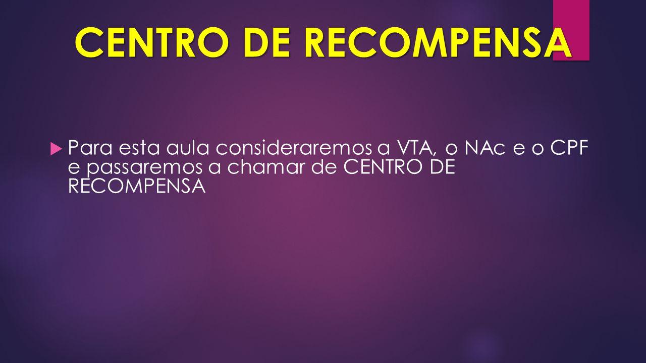 CENTRO DE RECOMPENSA  Para esta aula consideraremos a VTA, o NAc e o CPF e passaremos a chamar de CENTRO DE RECOMPENSA