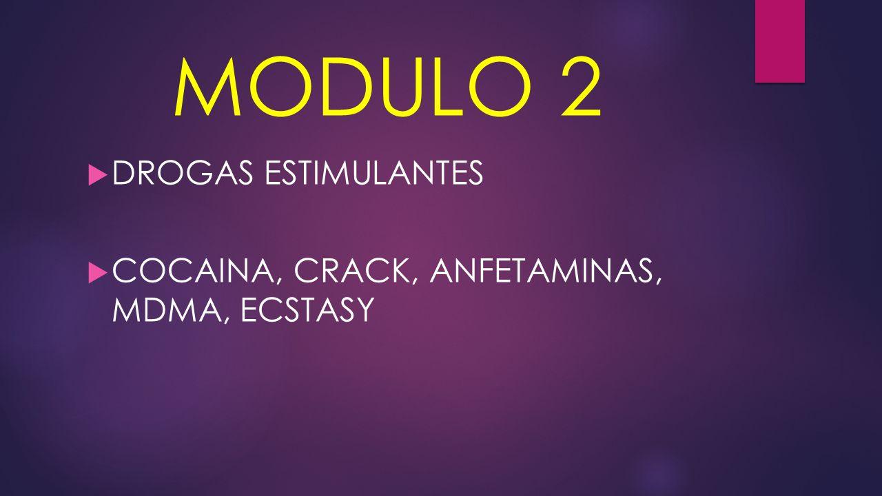 MODULO 2  DROGAS ESTIMULANTES  COCAINA, CRACK, ANFETAMINAS, MDMA, ECSTASY