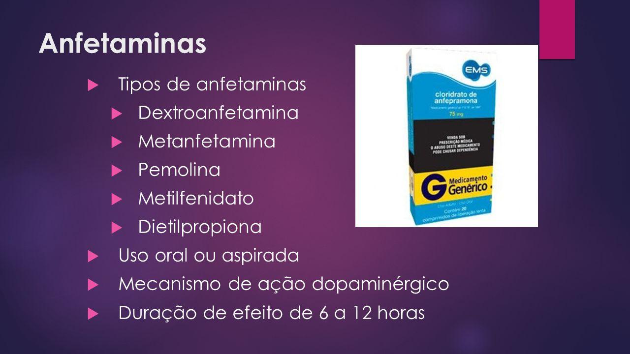 Anfetaminas  Tipos de anfetaminas  Dextroanfetamina  Metanfetamina  Pemolina  Metilfenidato  Dietilpropiona  Uso oral ou aspirada  Mecanismo d