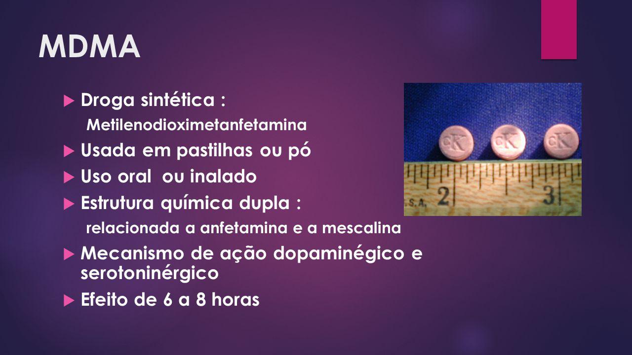 MDMA  Droga sintética : Metilenodioximetanfetamina  Usada em pastilhas ou pó  Uso oral ou inalado  Estrutura química dupla : relacionada a anfetam