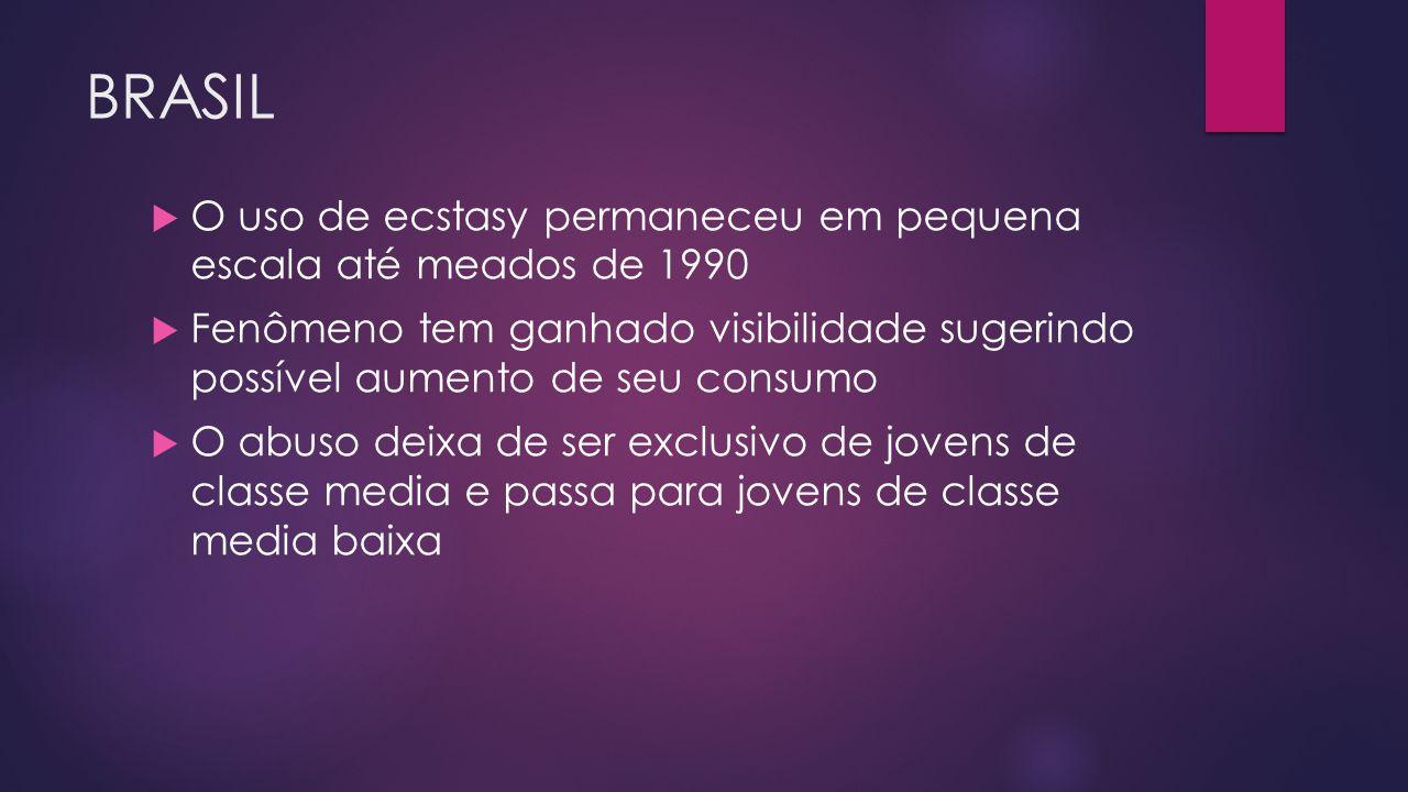BRASIL  O uso de ecstasy permaneceu em pequena escala até meados de 1990  Fenômeno tem ganhado visibilidade sugerindo possível aumento de seu consum