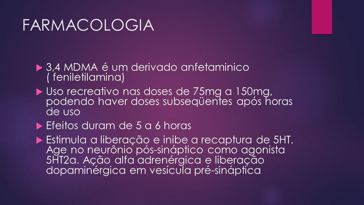 FARMACOLOGIA  3,4 MDMA é um derivado anfetaminico ( feniletilamina)  Uso recreativo nas doses de 75mg a 150mg, podendo haver doses subseqüentes após