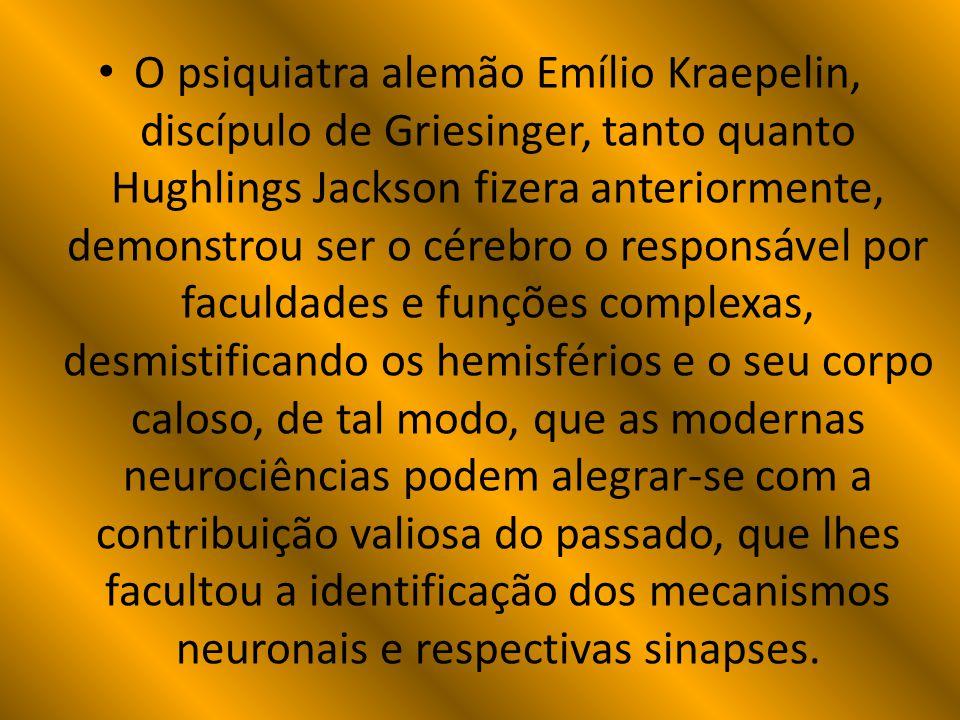 O psiquiatra alemão Emílio Kraepelin, discípulo de Griesinger, tanto quanto Hughlings Jackson fizera anteriormente, demonstrou ser o cérebro o responsável por faculdades e funções complexas, desmistificando os hemisférios e o seu corpo caloso, de tal modo, que as modernas neurociências podem alegrar-se com a contribuição valiosa do passado, que lhes facultou a identificação dos mecanismos neuronais e respectivas sinapses.