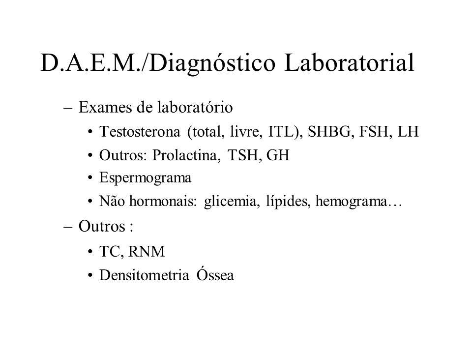 D.A.E.M./Diagnóstico Laboratorial –Exames de laboratório Testosterona (total, livre, ITL), SHBG, FSH, LH Outros: Prolactina, TSH, GH Espermograma Não