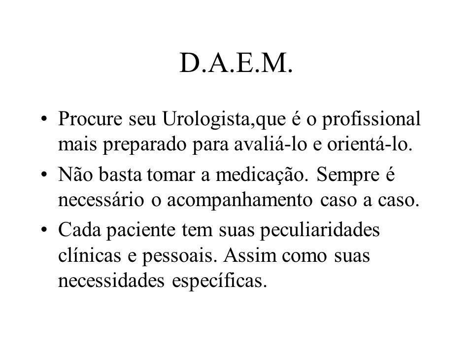 D.A.E.M. Procure seu Urologista,que é o profissional mais preparado para avaliá-lo e orientá-lo. Não basta tomar a medicação. Sempre é necessário o ac