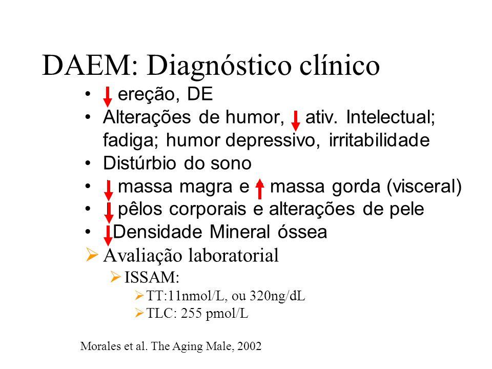 DAEM: Diagnóstico clínico ↓ ereção, DE Alterações de humor, ↓ ativ. Intelectual; fadiga; humor depressivo, irritabilidade Distúrbio do sono ↓ massa ma